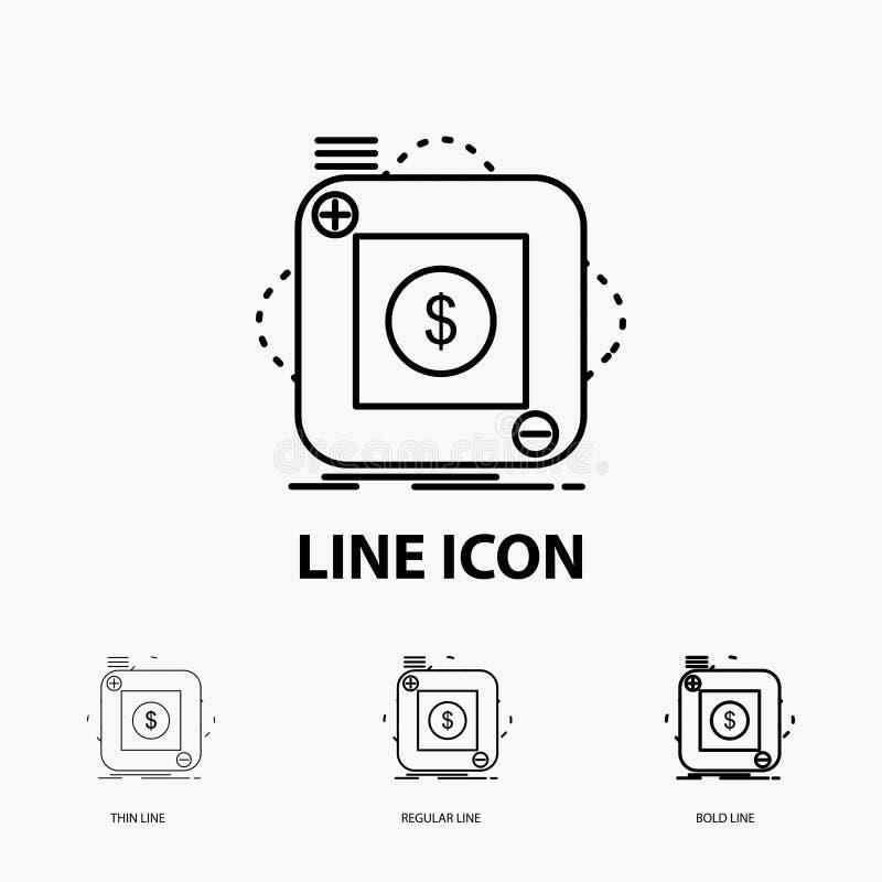Kauf, Speicher, App, Anwendung, bewegliche Ikone in der dünnen, regelmäßigen und mutigen Linie Art Auch im corel abgehobenen Betr stock abbildung