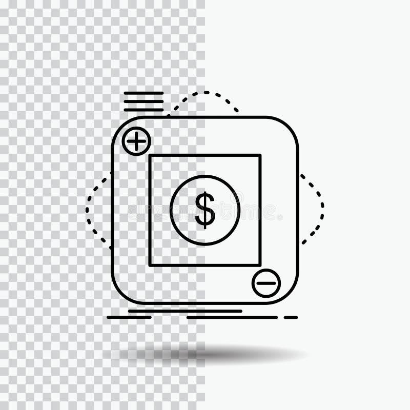 Kauf, Speicher, App, Anwendung, bewegliche Linie Ikone auf transparentem Hintergrund Schwarze Ikonenvektorillustration stock abbildung