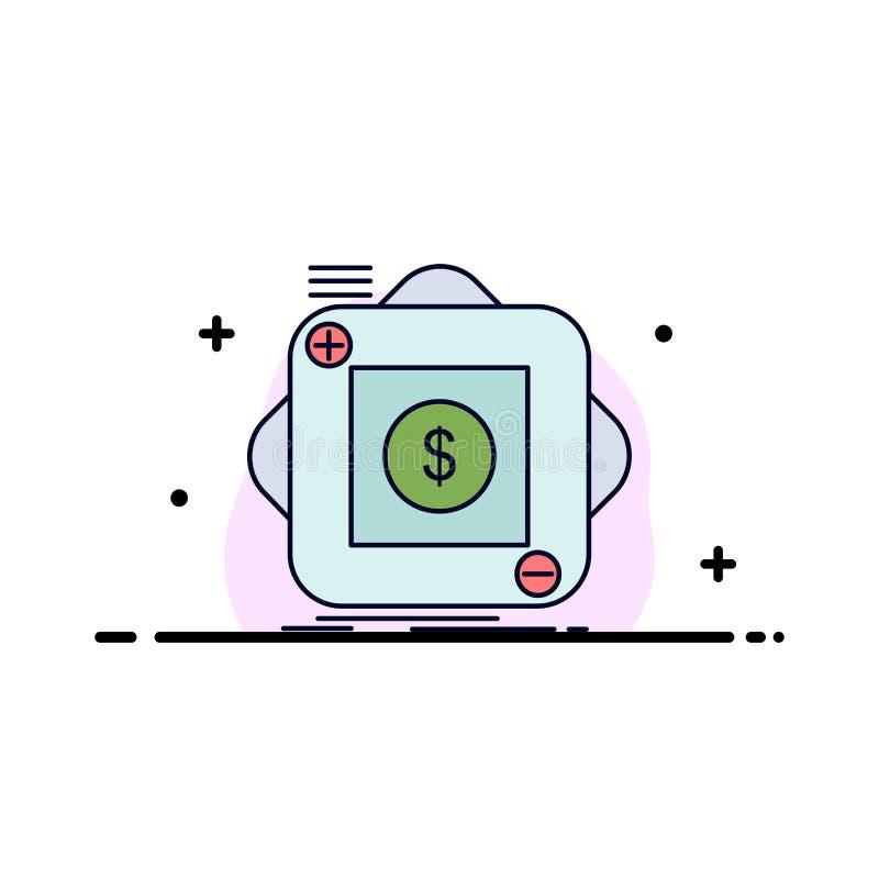 Kauf, Speicher, App, Anwendung, beweglicher flacher Farbikonen-Vektor lizenzfreie abbildung