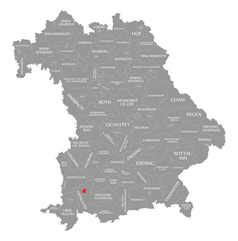 Kaufbeuren miasta czerwień podkreślająca w mapie Bavaria Niemcy ilustracji