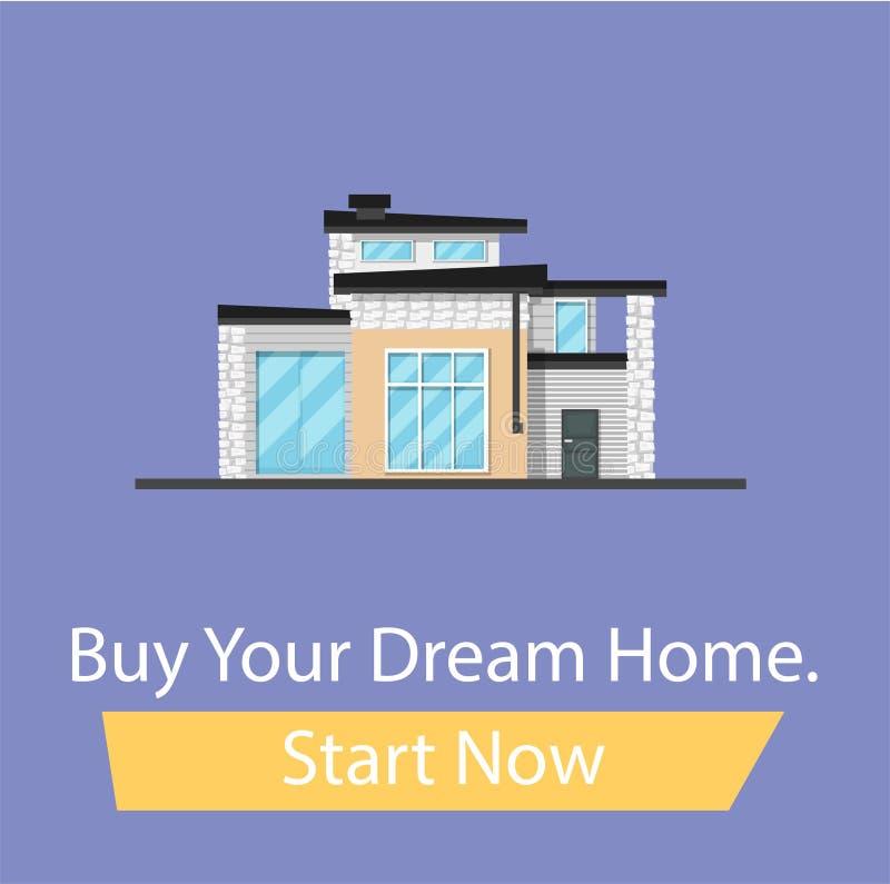 Kaufen Sie das Haus Ihrer Träume, stellen Sie jetzt Knopf an Fahne für das flache Familienhaus der Standortkarikatur vektor abbildung