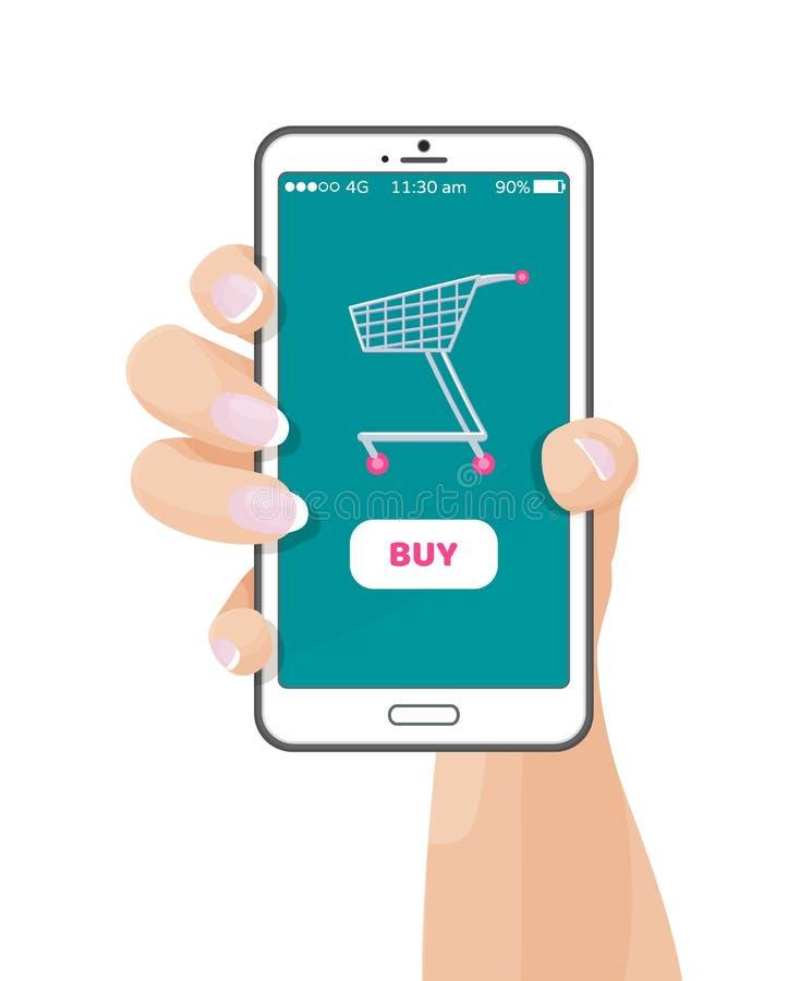 Kaufen Sie Knopf auf Web-Anwendung mit Warenkorb stock abbildung