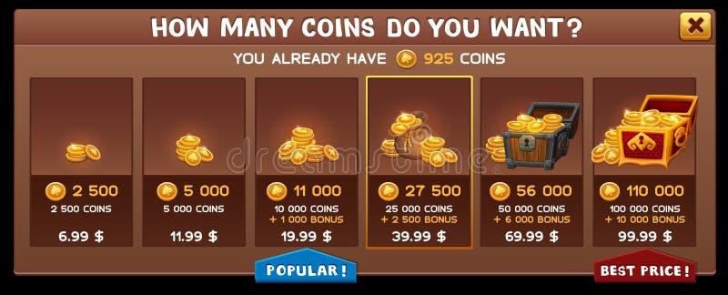 Kaufen Sie Münzenschirm für Automatenspiel vektor abbildung