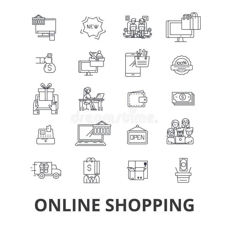 Kaufen Sie online und kaufen, Internet-Speicher, elektronischer Geschäftsverkehr, Warenkorb, Bestellung, bewegliche Kleinlinie Ik vektor abbildung