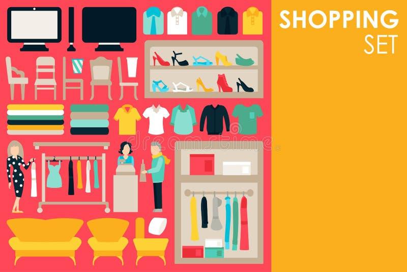Kaufende große Sammlung im flachen Designhintergrundkonzept Infographic-Element-Satz mit Mall-Personal-Kleidung und lizenzfreie abbildung