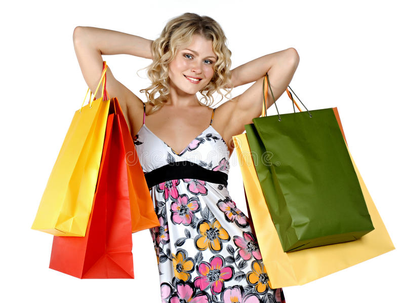 Kaufende reizvolle Frau lizenzfreie stockfotografie