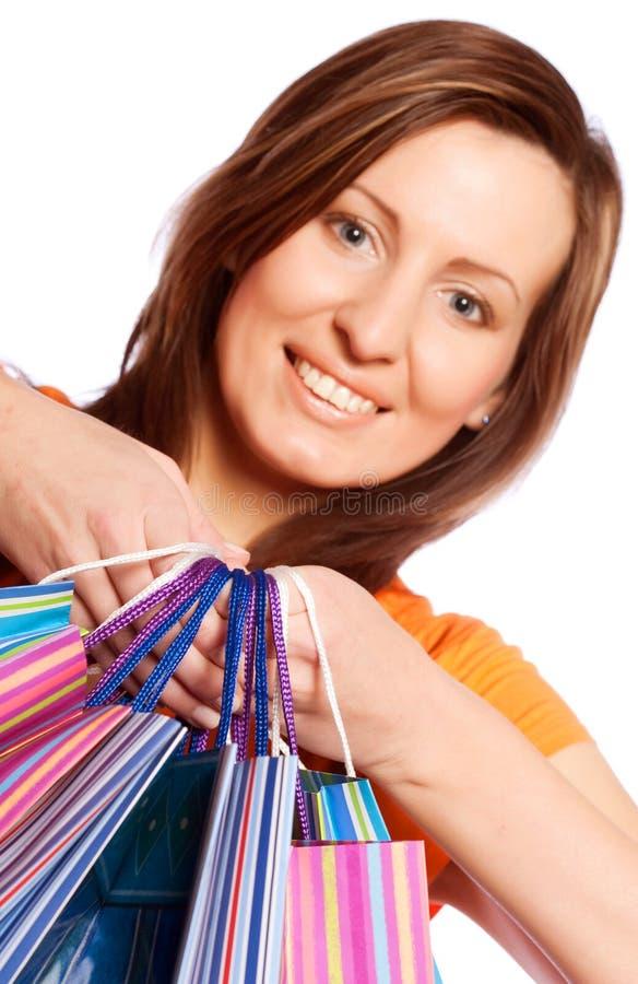 Kaufende reizvolle Frau lizenzfreies stockbild