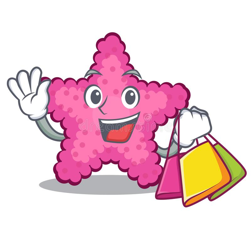 Kaufende rosa Starfish in der Karikaturform stock abbildung