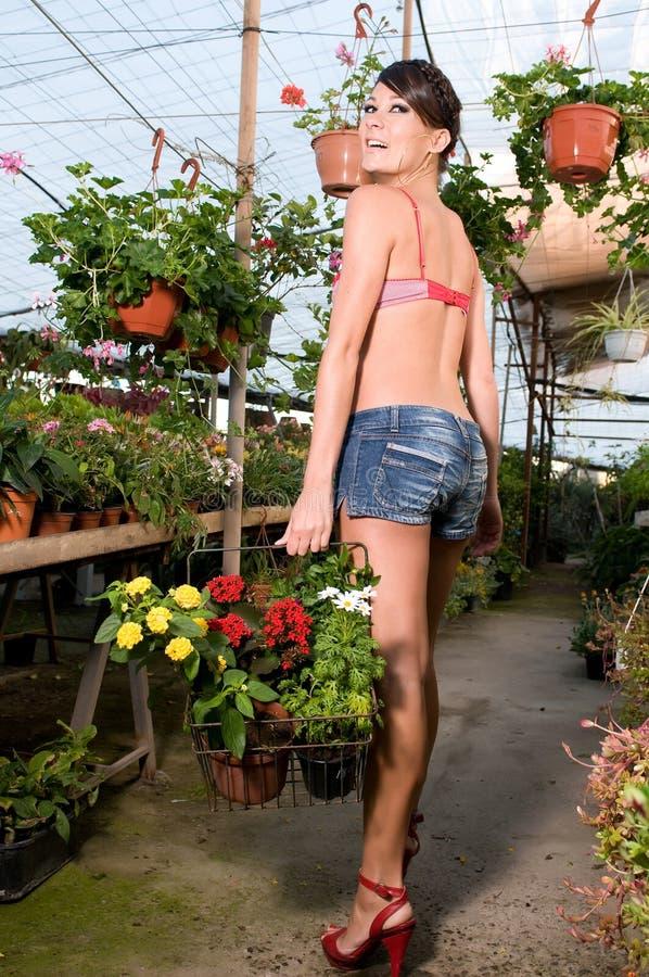 Kaufende Zeit der Blumen der Frau im Frühjahr