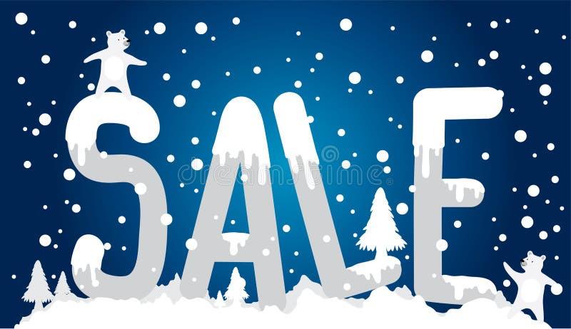 Kaufender bunter on-line-Verkauf der Vektorillustrations-Förderung des Winters stock abbildung