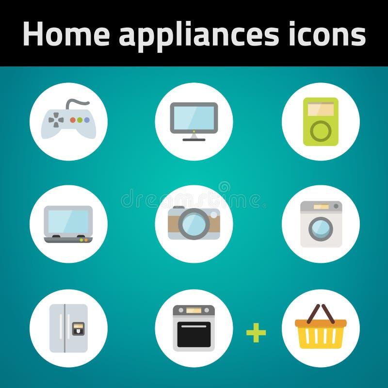 Kaufender flacher Ikonensatz der Haushaltsgeräte lizenzfreie abbildung