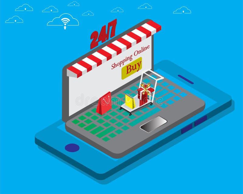 Kaufender moderner on-line-Entwurf farbenreich mit Speicher am Laptop und am intelligenten Telefon stockfoto