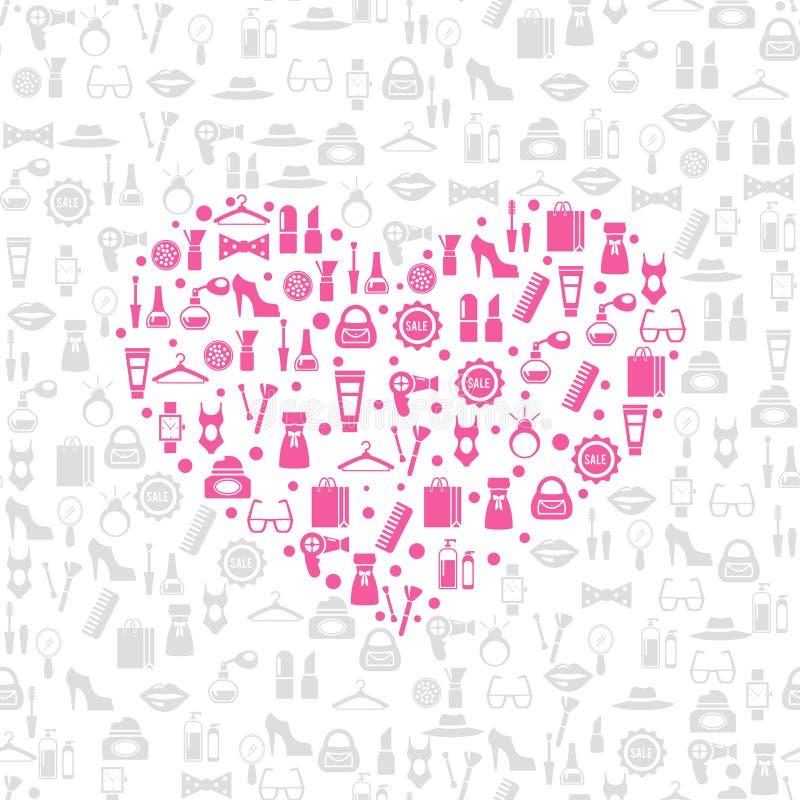 Kaufender nahtloser Vektorhintergrund der Liebe vektor abbildung