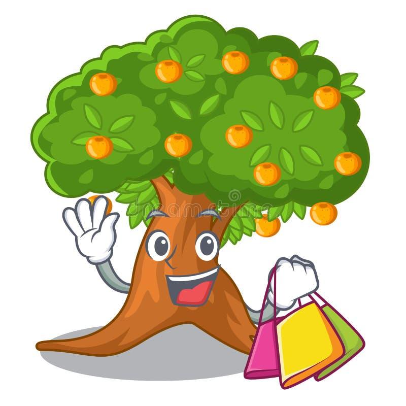 Kaufender Orangenbaum in der Zeichenform vektor abbildung