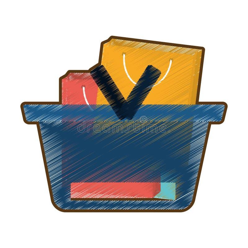 Kaufender Zeichnungskorb viele Taschengeschenk stock abbildung