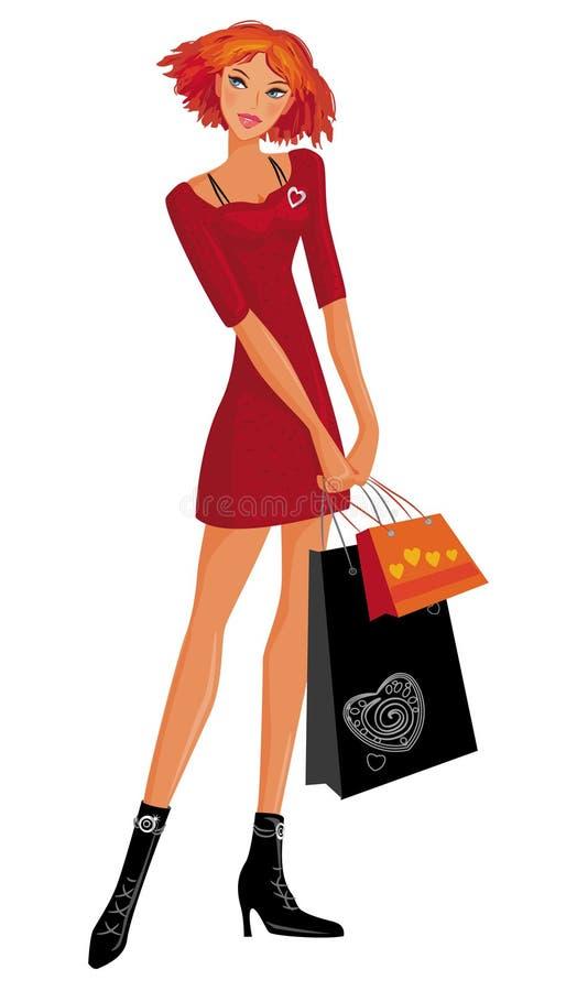 Kaufendes hübsches Mädchen. stock abbildung