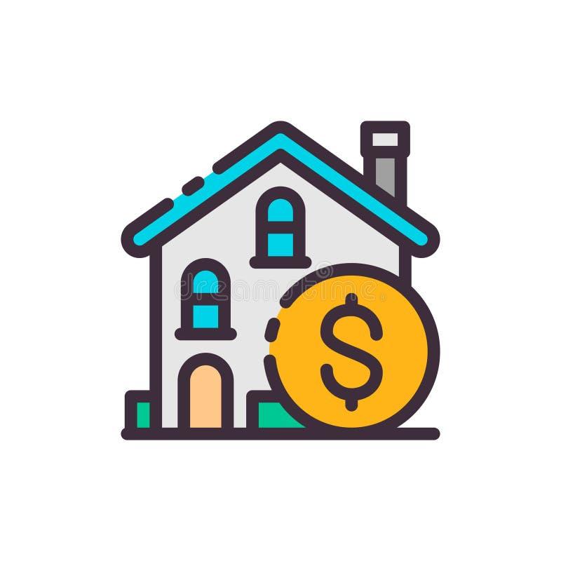 Kaufendes Haus Gelddollar Vektorfarbikone stock abbildung