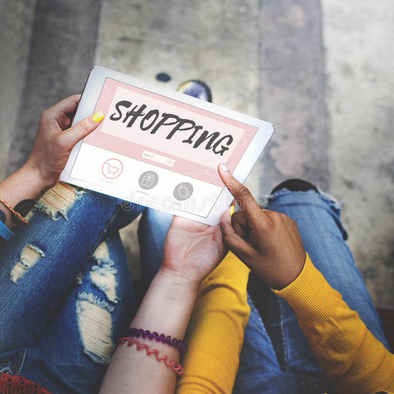 Kaufendes on-line-Kauf-Verkauf Shopaholic-Konzept stockfoto