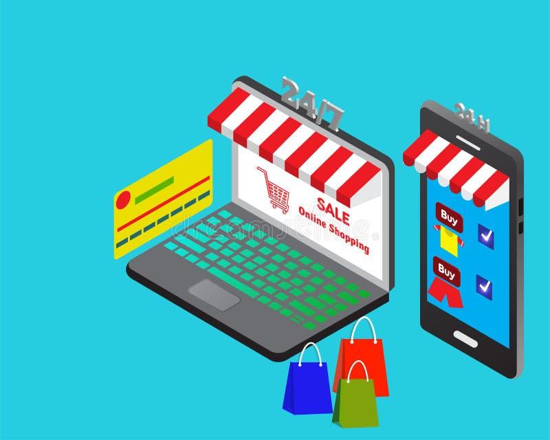 Kaufendes modernes on-line-Konzept des Entwurfes mit Laptop, intelligentes Telefon stockbild