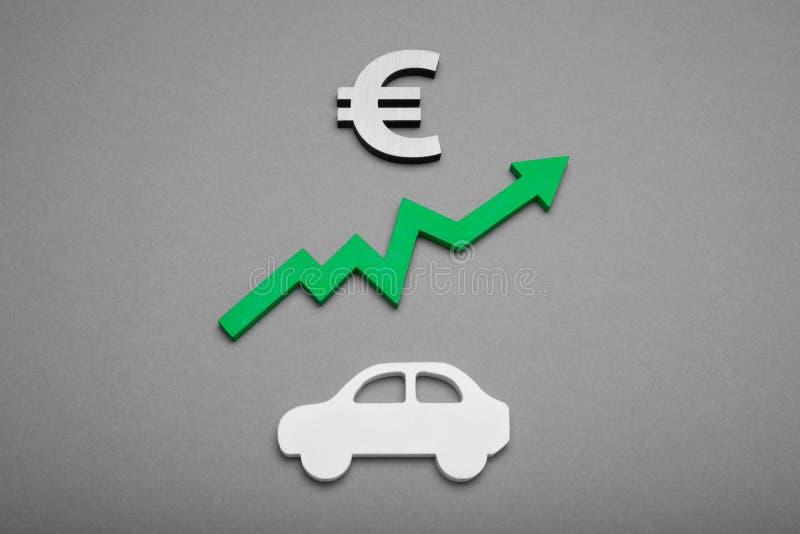 Kaufendes Selbstkonzept, Kreditwährung Geschäftsautohändler Hintergrund auf der Wand stockfoto