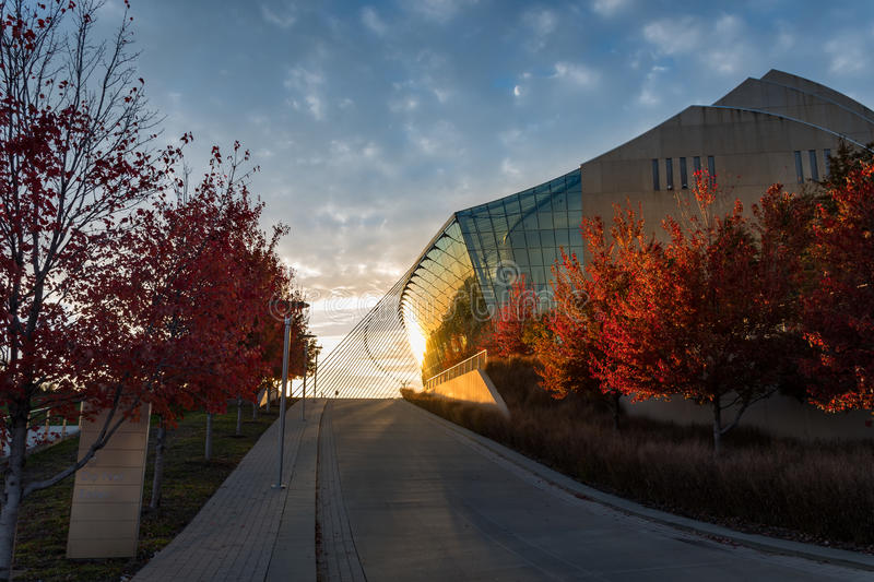 Kauffman Center for the Performing Arts in Kansas City Missouri. Beautiful fall sunset at the Kauffman Center for the Performing Arts in Kansas City Missouri stock images