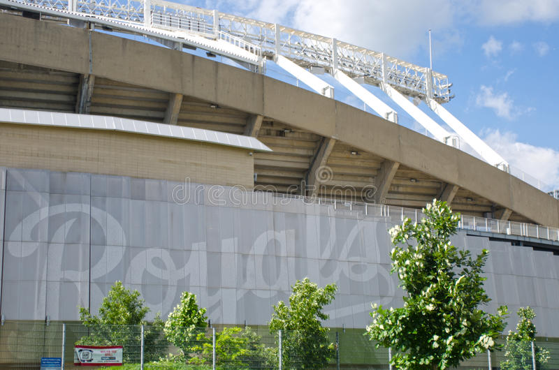 Kauffman Stadium for the Kansas City Royals Team. This is Kansas City Kauffman Royals Stadium in Missouri, this is the front of the stadium facing the highway stock photography
