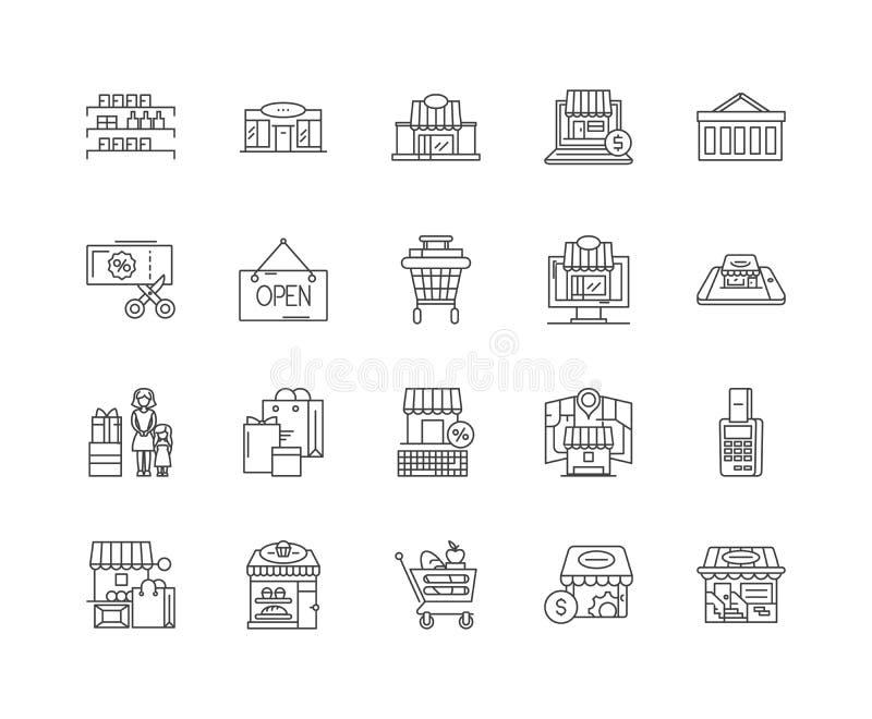 Kaufhauslinie Ikonen, Zeichen, Vektorsatz, Entwurfsillustrationskonzept vektor abbildung