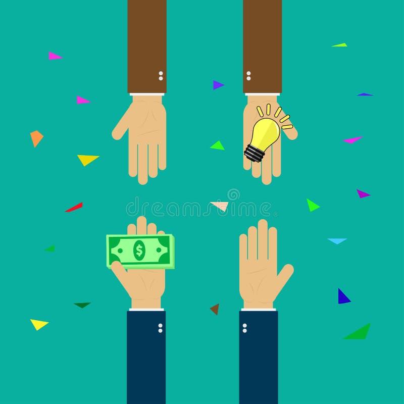 Kaufideen, die Idee, die f?r Geld handelt, folgen mit Gesch?ft, Hand h?lt Geld, Hand h?lt Gl?hlampe stock abbildung