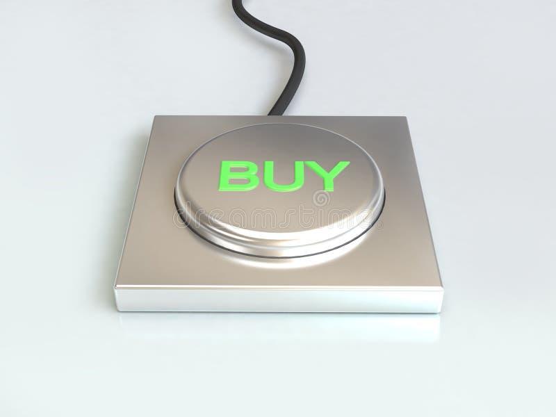 Kaufknopfsilberknopf und grüne Art 3d übertragen lizenzfreie abbildung
