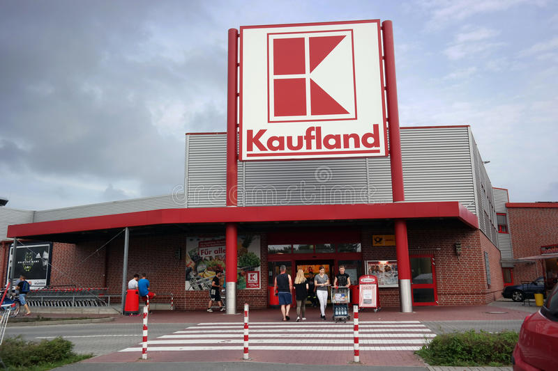 Kaufland Hypermarket. PAPENBURG, GERMANY - AUGUST 2015 Entrance of a Kaufland Hypermarket, a German discount retail chain, part of the Schwarz Gruppe which also royalty free stock photography