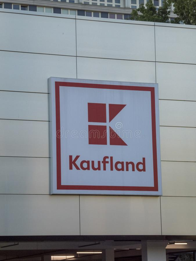 Kaufland hypermarket signage. Berlin, Germany - May 8, 2018: Signage of Kaufland, German hypermarket chain, part of the Schwarz Gruppe which also owns Lidl and stock image