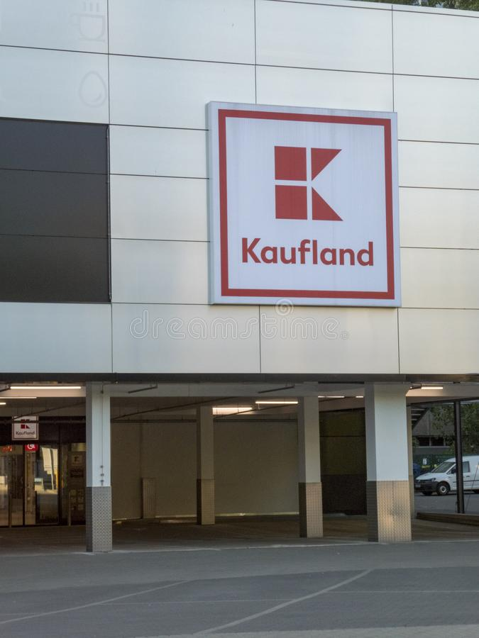 Kaufland hypermarket signage. Berlin, Germany - May 8, 2018: Signage of Kaufland, German hypermarket chain, part of the Schwarz Gruppe which also owns Lidl and stock photo