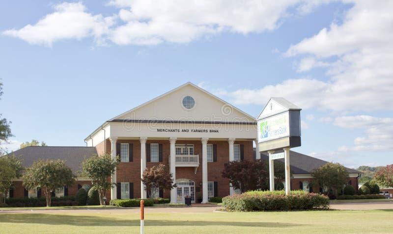 Kaufleute und Farmers Bank, Holly Springs, Mitgliedstaat lizenzfreies stockfoto