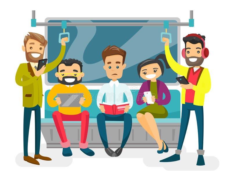 Kaukascy biali ludzie podróżuje metrem ilustracja wektor