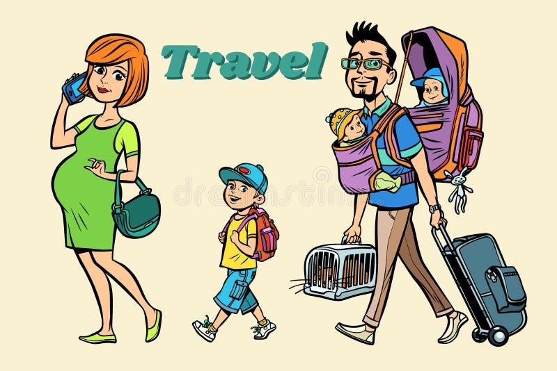 Kaukascy rodzinni podróżnicy, mama tata i dzieciaki, royalty ilustracja