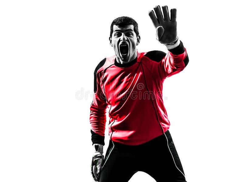 Kaukasisch de mensensilhouet van de voetballerkeeper stock foto's