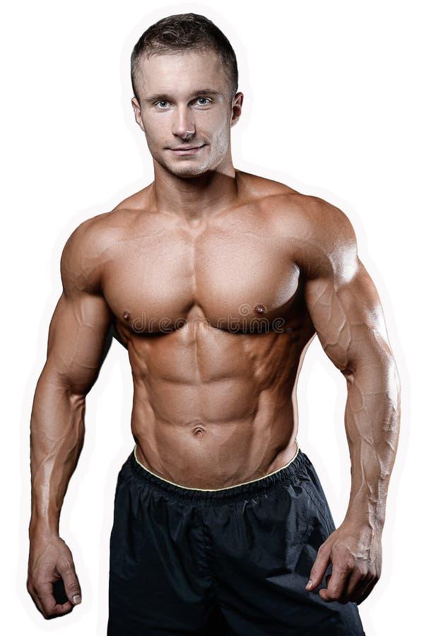 Kaukasisch sexy geschiktheidsmodel in gymnastiek dichte omhooggaande abs royalty-vrije stock foto's