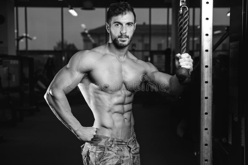 Kaukasisch sexy geschiktheidsmodel in gymnastiek dichte omhooggaande abs stock foto