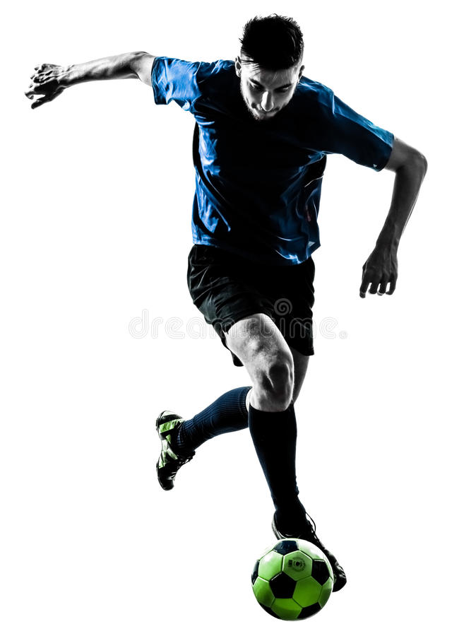 Kaukasisch voetballermens het jongleren met silhouet royalty-vrije stock afbeelding