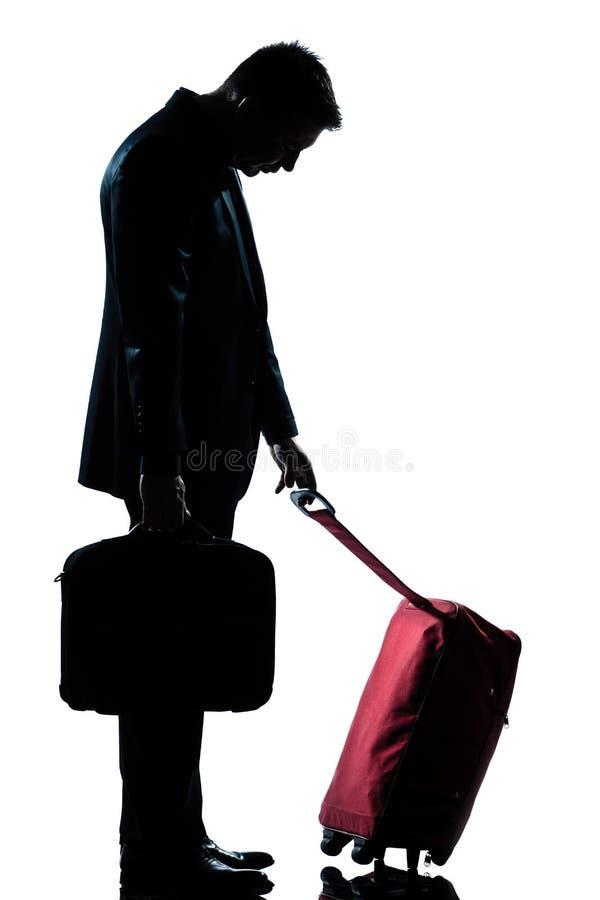 Kaukasische bedrijfs vermoeide reizigersmens stock foto