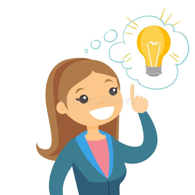 Kaukasische bedrijfsvrouw die bedrijfsidee hebben stock illustratie