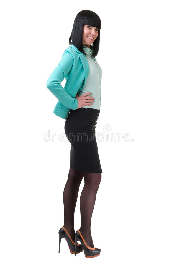 Kaukasische bedrijfsvrouw die, volledig die lengteportret bevinden zich op wit wordt geïsoleerd stock afbeeldingen
