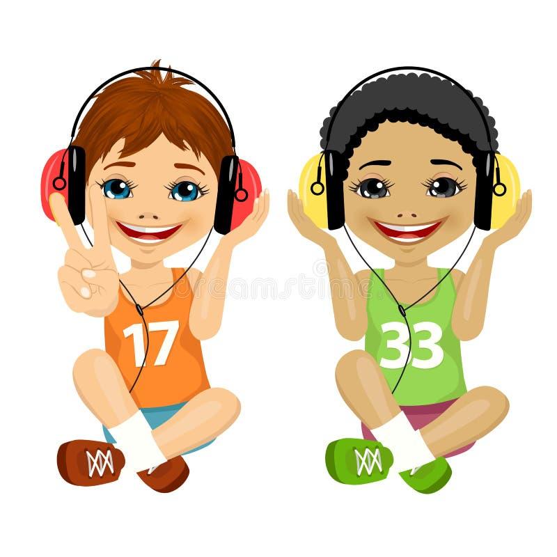 Kaukasische en Afrikaanse Amerikaanse tienerjongens die samen op vloer het luisteren muziek met hoofdtelefoons zitten stock illustratie