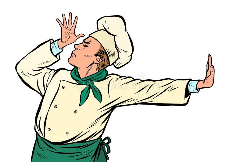 Kaukasische kokchef-kok, gebaar van schande ontkenning nr royalty-vrije illustratie