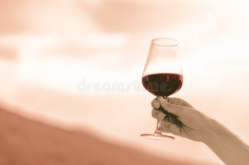 Kaukasische Mannhand, die ein Glas Rotwein durch den undeutlichen Himmel hält lizenzfreie stockfotos