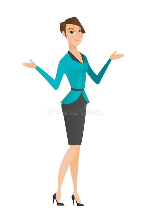 Kaukasische verwirrte Geschäftsfrau mit den verbreiteten Armen vektor abbildung