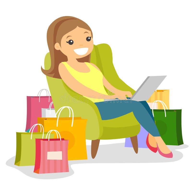 Kaukasische vrouw die laptop voor online het winkelen met behulp van stock illustratie