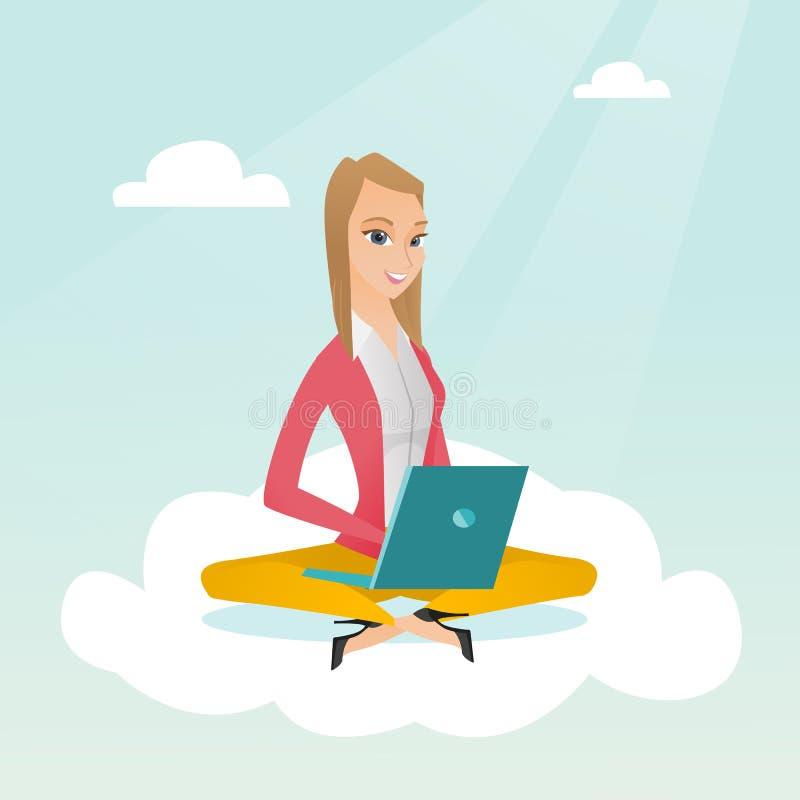 Kaukasische vrouw die wolk gegevensverwerkingstechnologieën gebruiken vector illustratie