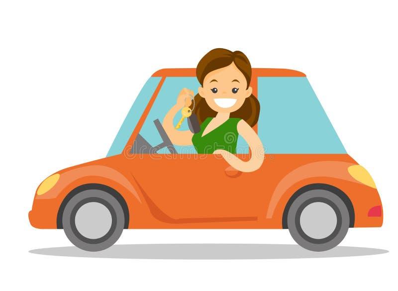 Kaukasische witte vrouw die sleutel tonen aan haar nieuwe auto vector illustratie