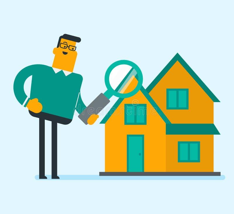 Download Kaukasische Witte Zakenman Die Een Huis Zoeken Vector Illustratie - Illustratie bestaande uit cliënt, beeldverhaal: 107708979